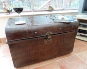 Extra Large Japanned Vintage Metal Travel Round Topped Trunk Steamer Case in Brown Circa 1930 Excellent All Original Condition Coffee Table