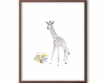 Baby Nursery Decor, Giraffe Nursery Wall Art, Watercolor Nursery Art Prints, Animal Nursery Decor - G1801