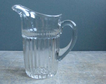 A small vintage French glass jug, milk jug, creamer, elegant little jusg,breakfast tray, afternoon tea