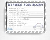 Wishes for Baby Cards Insert Police Baby Shower Party Printable You Print Blue Grey