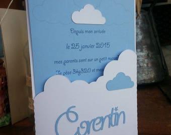 """""""cloud theme"""" birth announcement"""