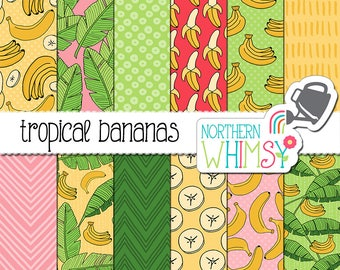 """Summer Digital Paper - """"Tropical Bananas"""" - hand drawn banana and banana leaf patterns in yellow, pink & mint green - commercial use CU OK"""