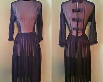 1950s Vintage Goth Sheer Black Pin Up Dress