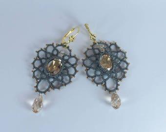 Grey dangle drop tatted earrings Filigree tatting lace Chandelier beaded earrings Gothic wedding jewellery Victorian jewelry golden cabochon