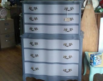 Gray Painted Dresser, Gray Chest on Chest, French Provincial Dresser, Gray Chest of Drawers, Large Gray Dresser, Refurbished Vintage Dresser