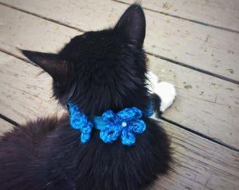 Reflective Cat Collar Elastic Pet Collar Crochet Blue Flowers Beaded Collar Unique Handmade Pet Accessories