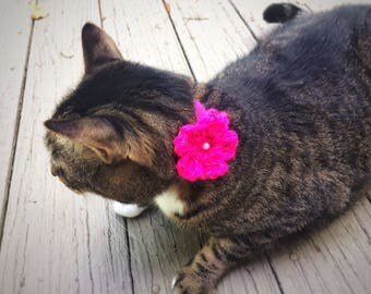Reflective Cat Collar Elastic Pet Collar Crochet Pink Flower Beaded Collar Unique Handmade Pet Accessories