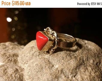 Holiday SALE 85 % OFF Red Coral Gemstone Gemstone 925 Sterling Silver Size 7