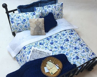 Miniature Dollhouse Duvet Bedding Set - Tiny Blue Flowers on White -Queen/Double