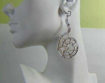 Sterling Silver Wire Wrapped Aluminum Nautilus Earrings on Niobium Ear Wires