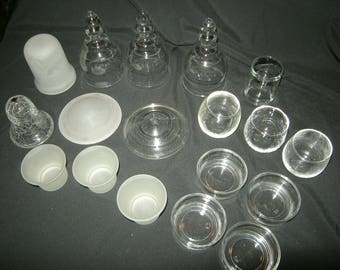 lot of 18 mixed clear u0026 opaque glass cups votive tealight candle holders crafting art supplies
