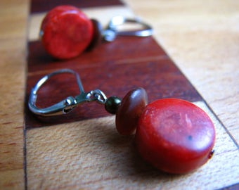 3549 -  Earrings Bambou Coral and Amber