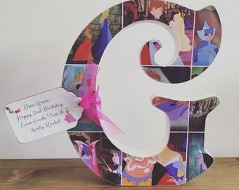 Disney Princess wooden letter with wooden name tag to match. 20cm tall. Unique and lovely gift! Belle, Aurora, cinderella, Ariel, Snow White