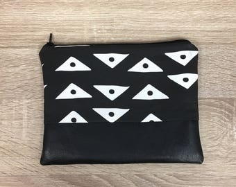 Mudcloth Clutch Mudcloth Makeup Bag Leather Bag Bridesmaid Clutch Boho Clutch Mudcloth Bag Bridesmaid Gift Zipper Pouch Tribal Print Fabric