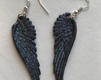 Raven Wing Earrings Black Wing Earrings Raven Feather Earrings