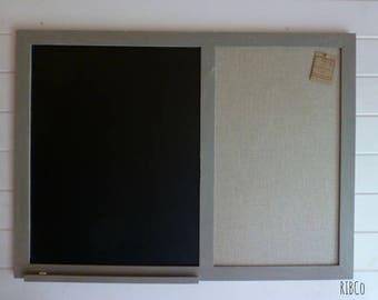 Large blackboard / chalkboard / Pin board French Linen Grey frame- Handmade.