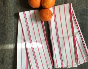 Vintage Pink Stripe Kitchen Towels, Morgan Jones Dish Towels | pink kitchen towel, 100% cotton dishtowels, pink and white, pink striped, USA