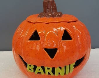 Small Ceramic Personalized Pumpkin - Ceramic Pumpkin With Name - Hand Glazed - Hand Carved - Painted Pumpkin With Light - Halloween Decorate