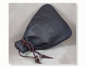 Leather Bag with Leather Drawstring, Rugged Old Fashioned Leather Pouch, 3 sizes, 7 Colors