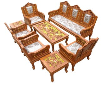 Carved Teak Wood Living Room Furniture Set With Beautiful Elephant I  Detail. (2 Inches
