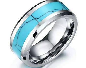 Mens Ring 8mm Turquoise  Inlay Tungsten Carbide