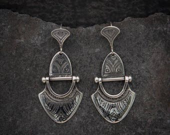 Sterling Silver Engraved Tuareg Earrings