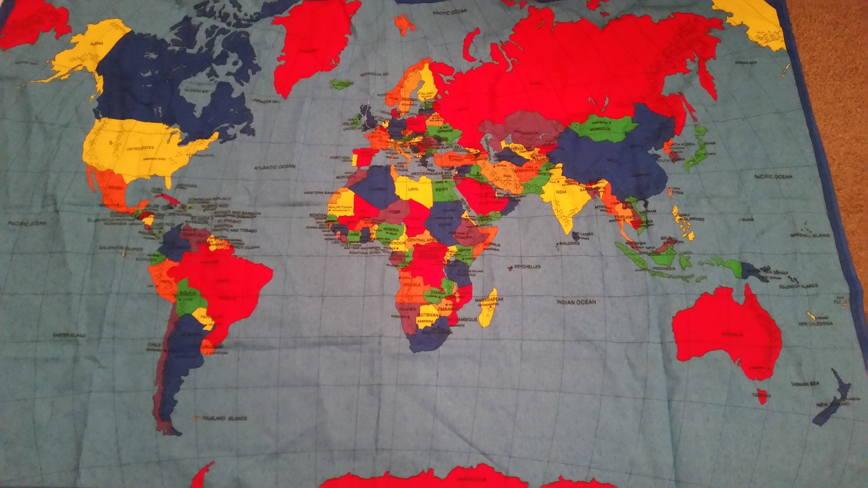 Large world map fabric world atlas baby quilt panelgeography 680 shipping gumiabroncs Gallery