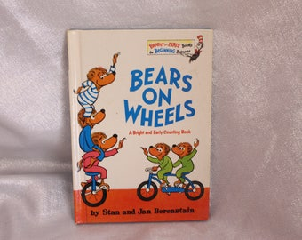 Vintage Children's Book - Berenstain Bears - Bears on Wheels - 1969 A Bright and Early Counting Book