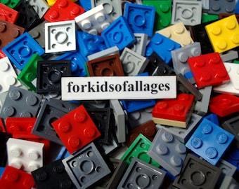 50 Lego 2x2 Stud Square Flat Plates - Assorted Colors - Bulk Lego Parts / Pieces Lot