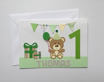 Handmade Personalised 1st Birthday Card | First Birthday | Baby Boy Little Boy Birthday Boy | First Birthday Card