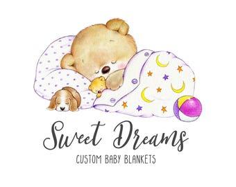 Teddy logo-Quilt logo-Blanket Logo-Baby product Logo-Plush toy logo-Sleeping Logo-Etsy Logo-Photography Logo-Small Business Logo-Branding