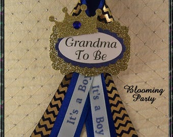 Prince Grandma To Be Corsage Blue and Gold Grandma To Be Corsage Blue and Gold Baby Shower Pink Baby Shower Corsage