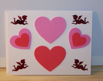 Special Occasion - white cupids w/hearts card