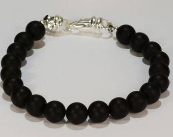 Radiant! Matte Black Onyx Bead Bracelet~.925 Sterling Silver Clasp~8mm Beads