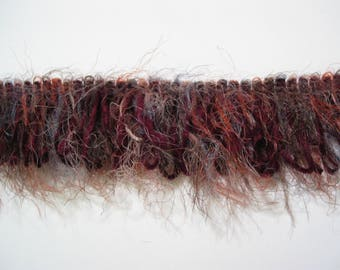 Ombre haired yarn fringe trim pink with a little blue medium and Burgundy chenille