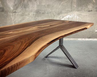 Live edge Walnut and steel dining table