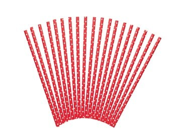 Set of 24 decorated straws - red with white dots