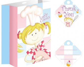 Set of 8 party bags with ribbons and labels Little Cooks paper