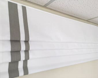 "Custom Faux Roman Shade ""White with double Border"" with velcro'ed track"