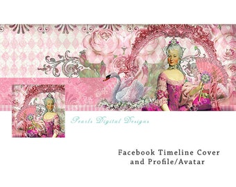 Facebook Cover and profile, Marie Bubble Gum Pink, Instant download, Timeline cover, header, Marie Antoinette, collage theme, pink, roses