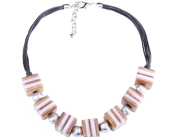 Camel and tan statement necklace