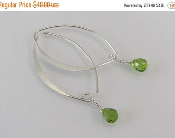 Peridot Marquise Earrings, Peridot Earrings, Green Gemstone Earrings, 925 Sterling Silver, August Birthstone Jewelry, Dangle Earrings