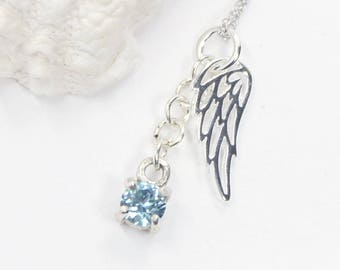 Angel Wing, Necklace, Sterling Silver, Silver Necklace, CZ Necklace, Wing Jewelry, Blue Necklace, Bird Necklace, Gift for Her, Jewelry