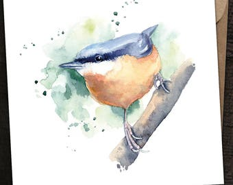Nuthatch Card, Nuthatch Birthday Card, Nuthatch, Country, British Wildlife, Watercolour Nuthatch Card, Bird Card, British Bird, Garden Bird