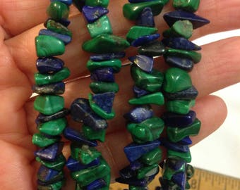 """Pre Owned Pretty Continuous Long Strand of Malachite and Lapis Lazuli Chip Beaded Necklace 36"""" Long 105 Grams  You can Add an Enhancer"""
