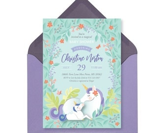 Mother and Baby Unicorn Shower Invitation, Printable, Customized, Digital files - woodland theme, magical unicorn baby shower invitation
