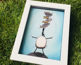 Baalancing The Books - 3D White Box Framed Quirky Sheep ART Print