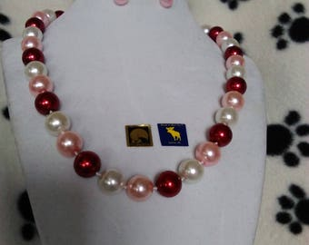 Red & Pink Beaded Statement Necklace, Bracelet and Earring Set