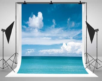 Blue Sea Water Photography Backdrops Blue Sky White Clouds Photo Backgrounds for Wedding Lovers Seascape Studio Props
