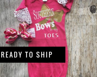 Southern baby etsy southern girl gown set baby girl gown pink and gold infant gown take negle Images